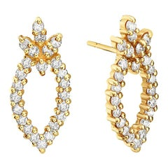 14 Karat Yellow Gold Pineapple Shape Diamond Earring