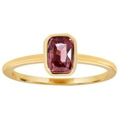 14 Karat Yellow Gold Pink Sapphire Bezel Petite Solitaire Ring '1 Carat'