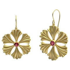 14 Karat Yellow Gold Pink Sapphire Fan Flower Earrings