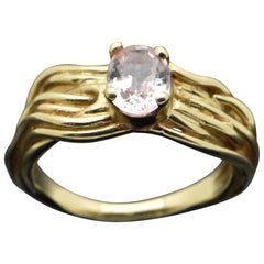14 Karat Yellow Gold Pink Sapphire Ring