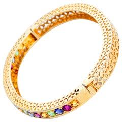 14 Karat Yellow Gold Pink Tourmaline, Amethyst and Peridot Bracelet