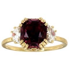 14 Karat Yellow Gold Pinkish Purple Sapphire & Diamond Ring GIA 'Center 3.59 CT'
