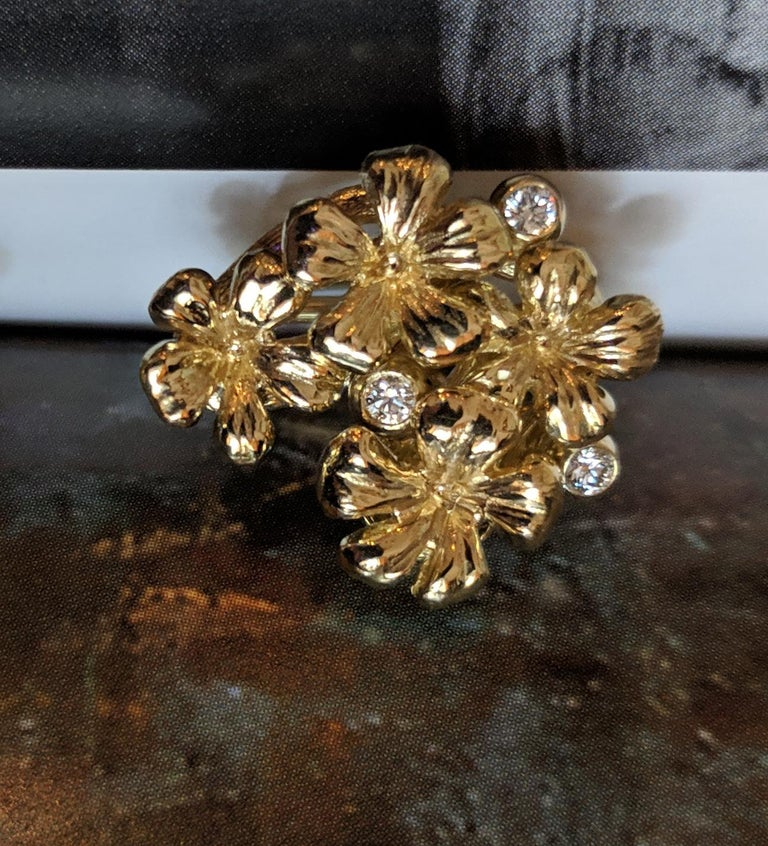 14 Karat Yellow Gold Plum Flowers Clip-On Earrings by The Artist with Diamonds 6