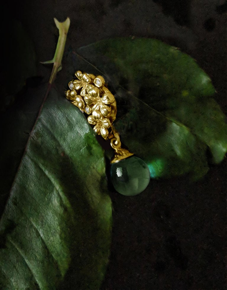 14 Karat Yellow Gold Plum Flowers Clip-On Earrings by The Artist with Diamonds 2