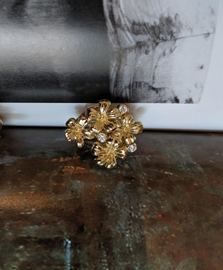 14 Karat Yellow Gold Plum Flowers Clip-On Earrings by The Artist with Diamonds 5