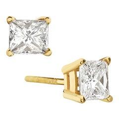 14 Karat Yellow Gold Princess Cut Diamond Stud Earrings