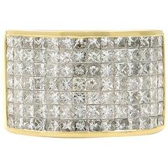 14 Karat Yellow Gold Princess Cut Diamond Unisex Ring 4.50 Carat