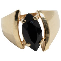 14 Karat Yellow Gold Prong Set Onyx Asymmetrical Cocktail Ring
