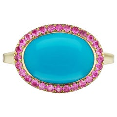 14 Karat Yellow Gold Purple Enamel Turquoise Cabochon and Pink Sapphire Ring