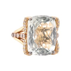 14 Karat Yellow Gold Quartz and Diamond Cocktail Ring
