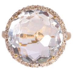 14 Karat Yellow Gold Quartz Diamond Ring