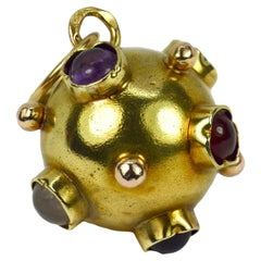 14 Karat Yellow Gold Quartz Sputnik Charm Pendant