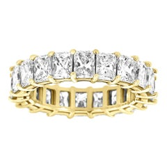 14 Karat Yellow Gold Radiant Eternity Diamond Ring '6 Carat'