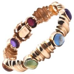 14 Karat Yellow Gold Rainbow Cabochon Multi-Gemstone Bracelet