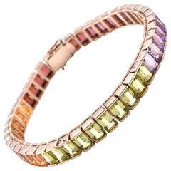 14 Karat Yellow Gold Rainbow Multi Gemstone Tennis Bracelet
