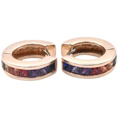 14 Karat Yellow Gold Rainbow Sapphire Huggie Hoop Earrings