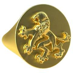 14 Karat Yellow Gold Rampant Lion Signet Ring