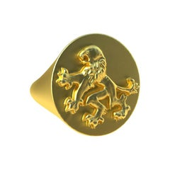 14 Karat Yellow Gold Rampant Lion Signet Ring