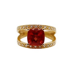 3.50ct Red Andesine 14K Yellow Gold Double 7.5 Band Diamond & Gemstones Ring