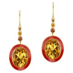 14 Karat Yellow Gold Red Enamel Citrine Lever Back Earrings