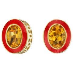 14 Karat Yellow Gold Red Enamel Citrine Stud Earrings