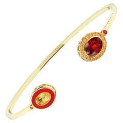 14 Karat Yellow Gold, Red Enamel, Garnet and Sapphire Cuff Bracelet
