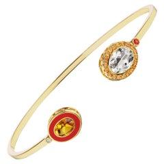 14 Karat Yellow Gold, Red Enamel, Topaz and Sapphire Cuff Bracelet