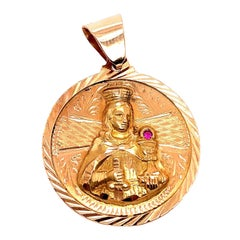 14 Karat Yellow Gold Religious Charm / Pendant with Ruby Accent