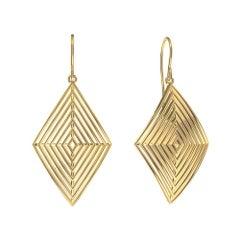 14 Karat Yellow Gold Rhombus Row Earrings