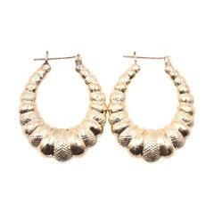14 Karat Yellow Gold Ribbed Hoop Earrings