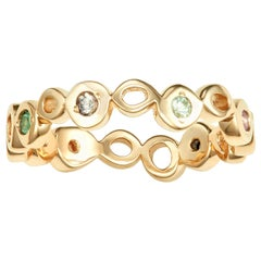 14 Karat Yellow Gold Ring Band with Colorful Sapphires