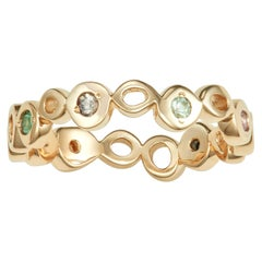 14 Karat Yellow Gold Ring Band with Multi-Color Sapphires