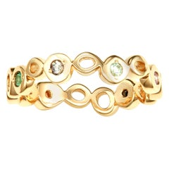 Hi June Parker 14 Karat Yellow Gold Ring Band with Multi-Color Sapphires