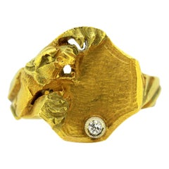14 Karat Yellow Gold Ring Decorated with Tiger and Diamond, 1940s