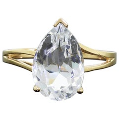 14 Karat Yellow Gold Ring Large Stunning 8 Carat Pear Cut Iced Blue Topaz