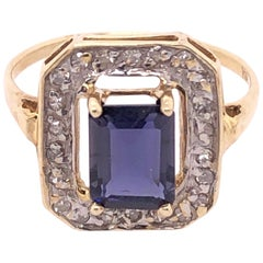 14 Karat Yellow Gold Ring Semi Precious Solitaire with Diamond Accents