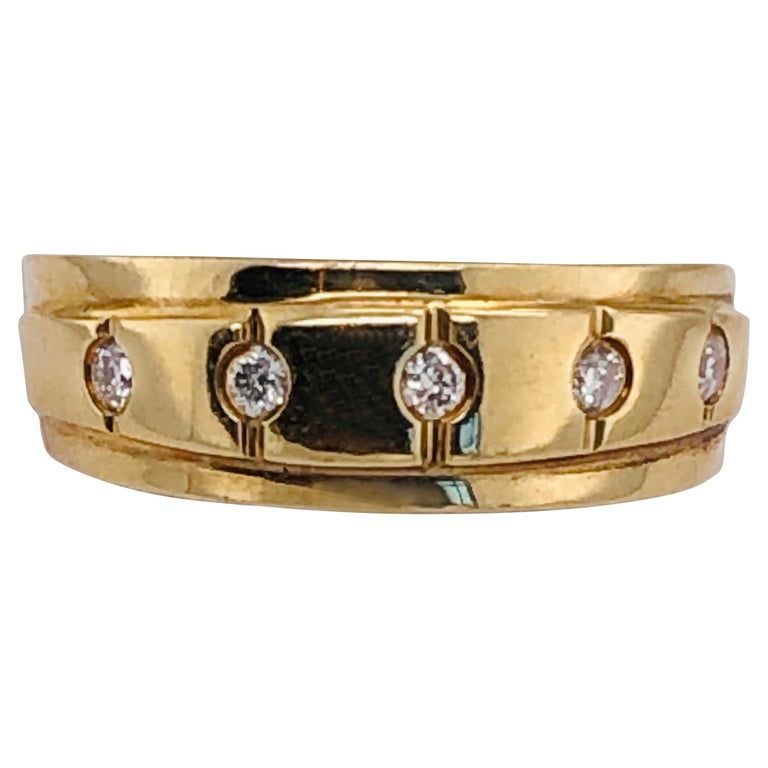 14 Karat Yellow Gold Ring Wedding Band with Five Diamonds .35 Carat For Sale