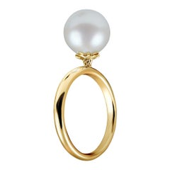 14 Karat Yellow Gold Ring with Free Moving White South Sea Pearl