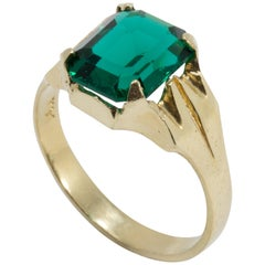 14 Karat Yellow Gold Ring with Green Crystal, Prong Set and Open Back