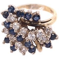 14 Karat Yellow Gold Ring with Sapphire and Diamond Cluster