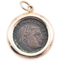 14 Karat Yellow Gold Roman Coin Pendant