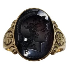 14 Karat Yellow Gold Roman Head Carved Black Onyx Ring