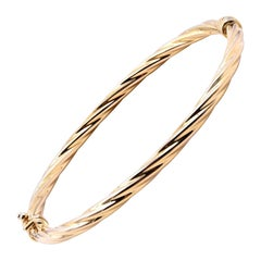 14 Karat Yellow Gold Rope Bangle Bracelet