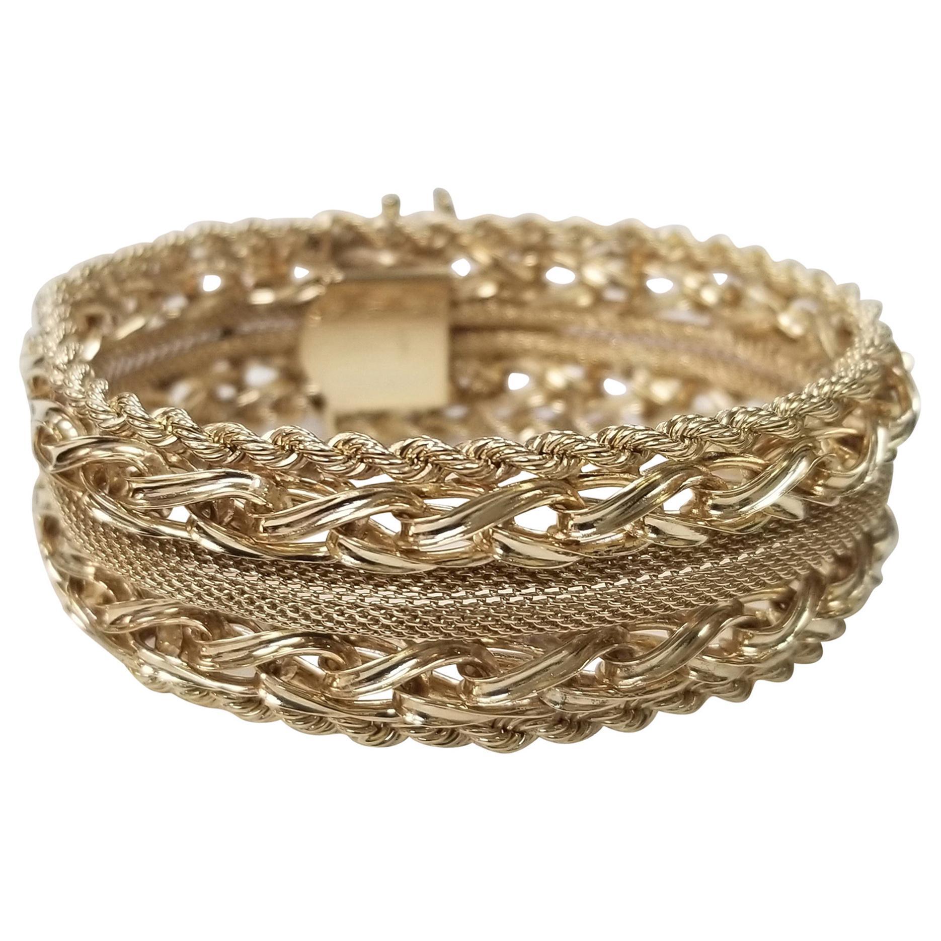 14 Karat Yellow Gold Rope, Link and Mesh Wide Bracelet