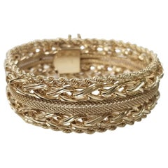 14 Karat Yellow Gold Rope, Link and Mesh Wide Bracelet