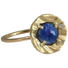 14 Karat Yellow Gold Rose Cut 0.725 Carat Blue Sapphire Ring with Diamond Accent