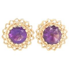 14 Karat Yellow Gold Round Amethyst Bezel Set Stud Earrings