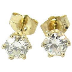14 Karat Yellow Gold Round Brilliant Diamond Stud Earrings .60 Carat