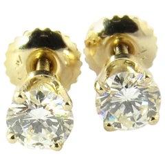 14 Karat Yellow Gold Round Brilliant Diamond Stud Earrings .78 Carat