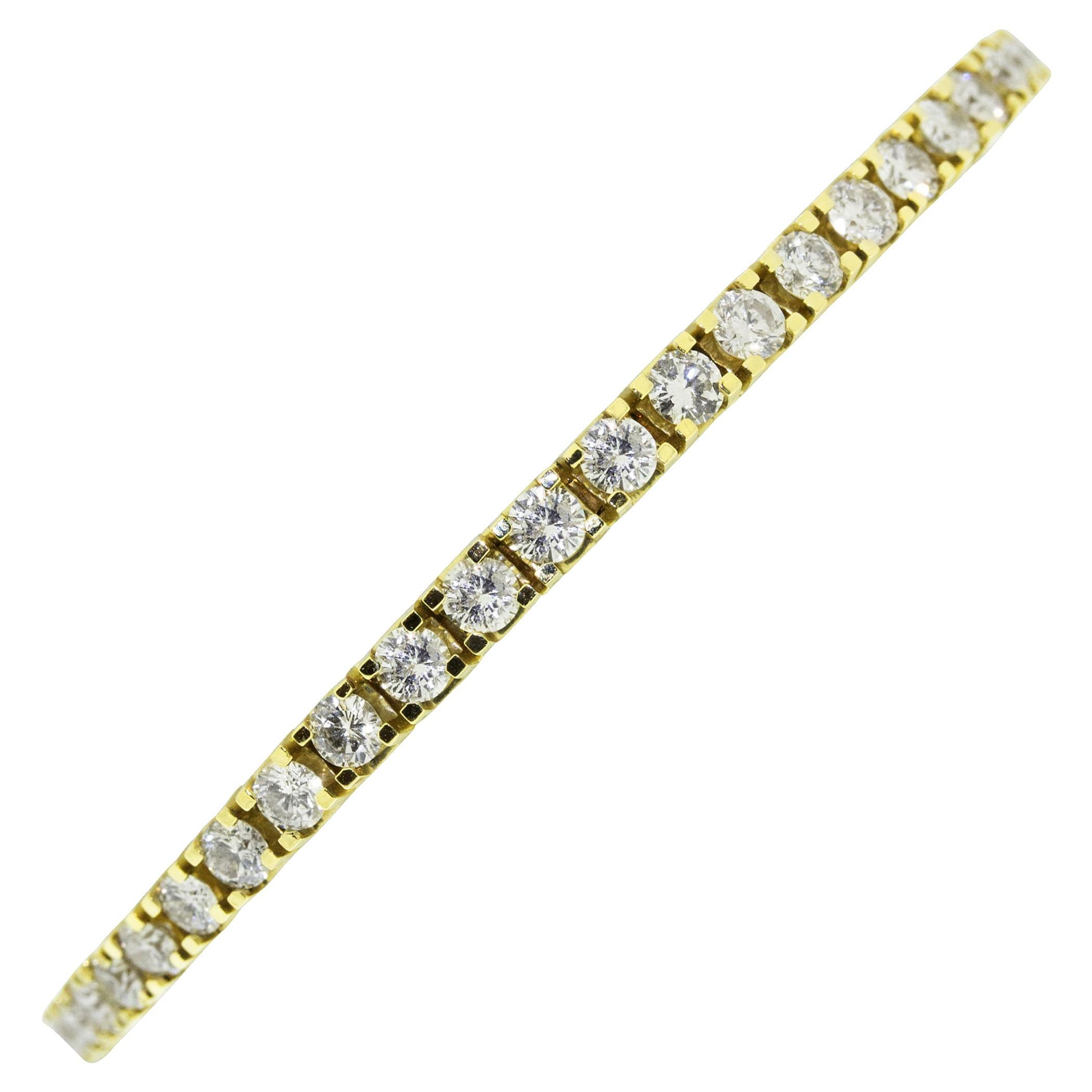 14 Karat Yellow Gold Round Brilliant Diamond Tennis Bracelet